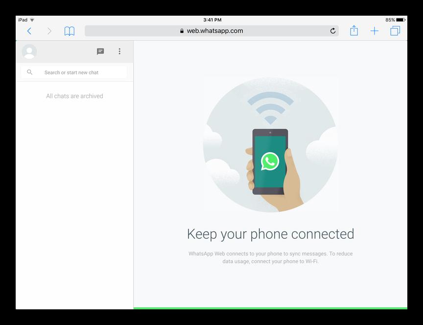 WhatsApp Web для iPad
