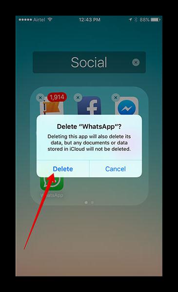 Завершение удаления WhatsApp с рабочего стола на iPhone