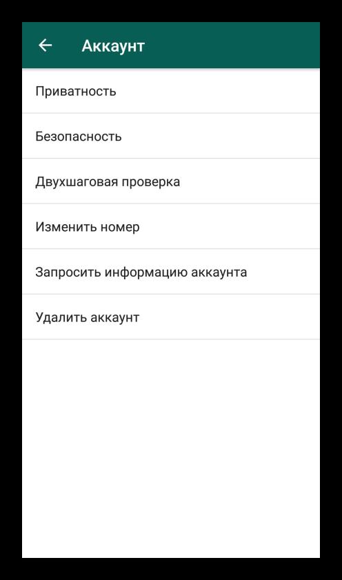 Аккаунт в настройках мессенджера WhatsApp