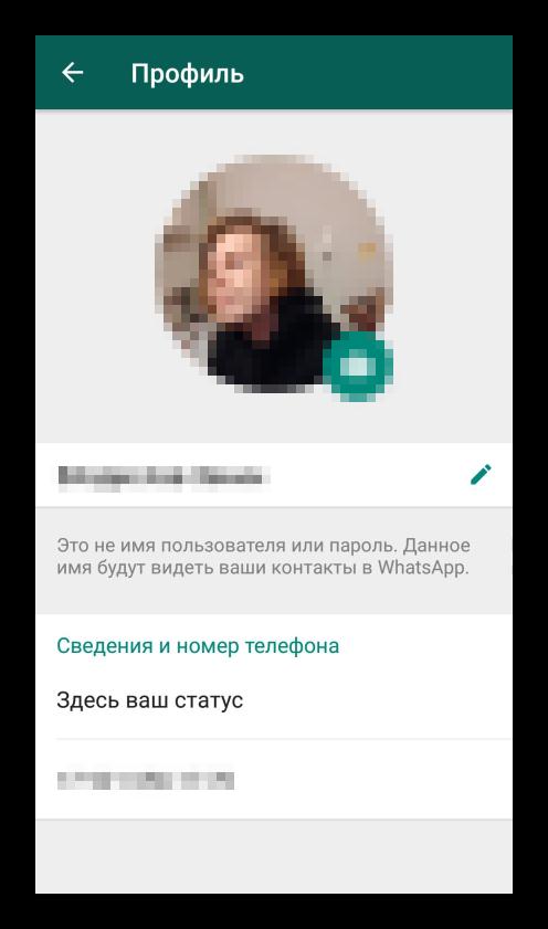 Профиль в настройках мессенджера WhatsApp