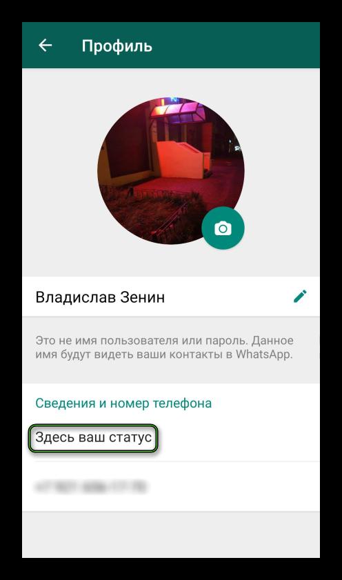 Смена статуса в приложении WhatsApp