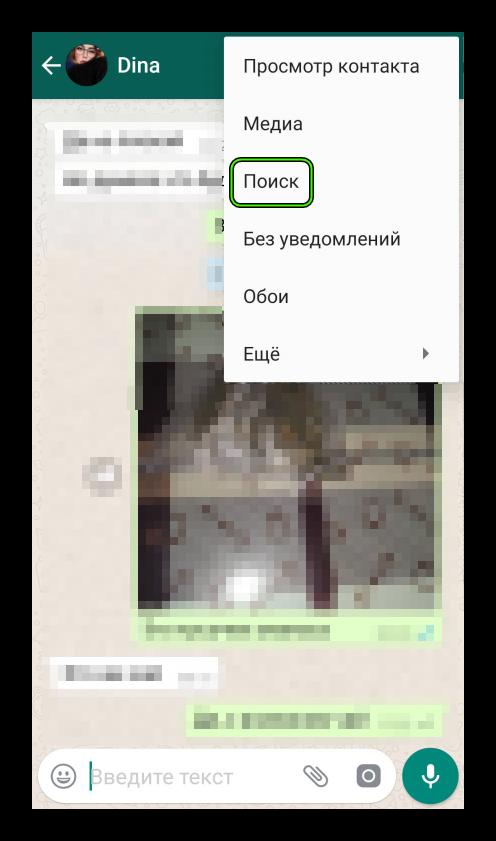Поиск по конкретной переписке в мессенджере WhatsApp